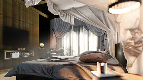 A stylish bedroom, with a lot of transparent fabrics.