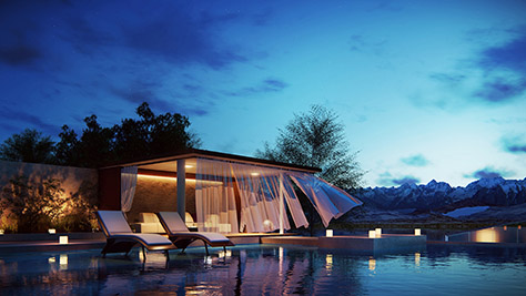 Spectacular poolside in the foothills of snow-capped mountains.