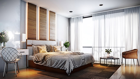 A beautiful render of a simple and stylish bedroom.