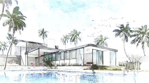 Exterior render of a villa with the sketch effect with some color added