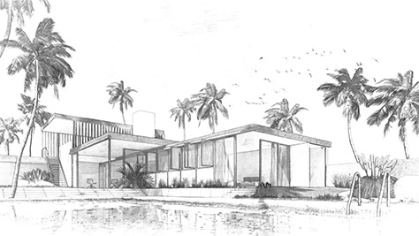 Exterior render of a villa with the sketch effect applied
